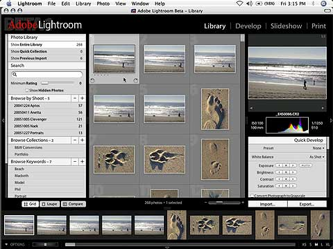Appercu d'Adobe Lightroom version Mac